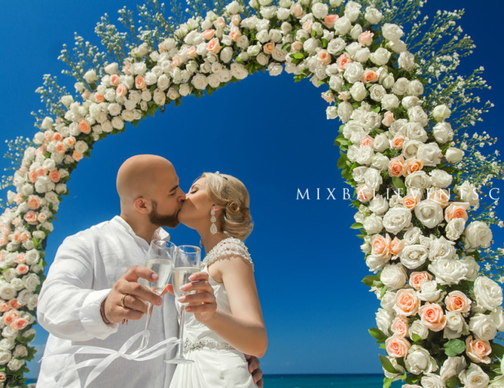 Ocean Wedding on a white sand beach