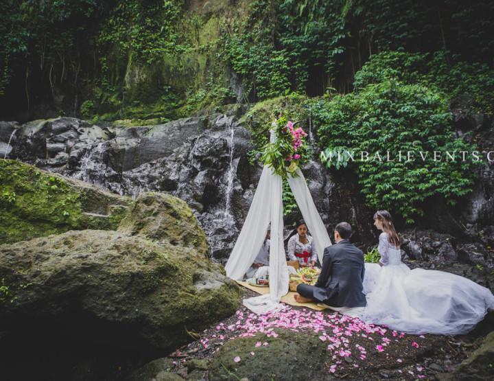 Traditional Balinese  Wedding on the Waterfall