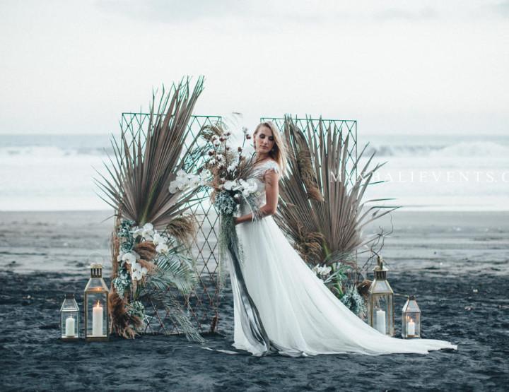 Wedding ceremony on the black lava sand beach