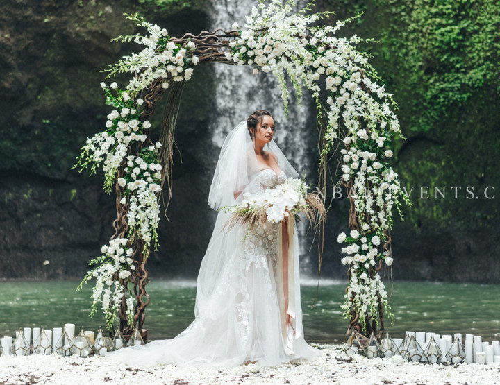 Exotic Wedding on the Waterfall in the Tropical Jungle of Bali