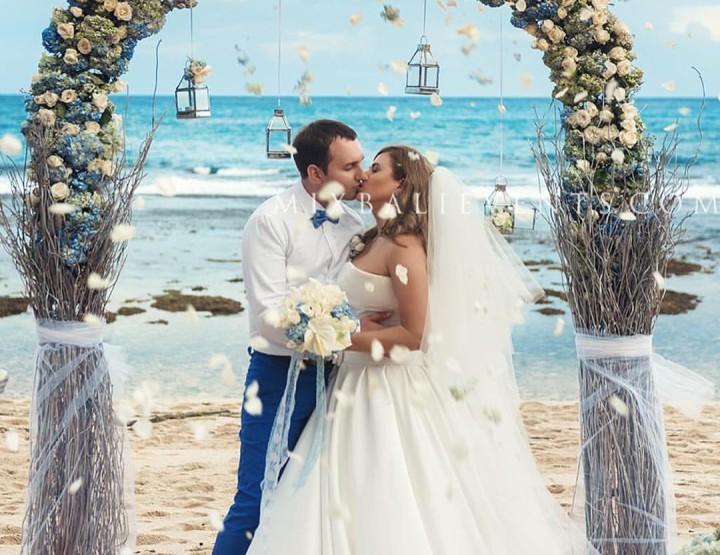 Wedding in Bali on a white sand beach