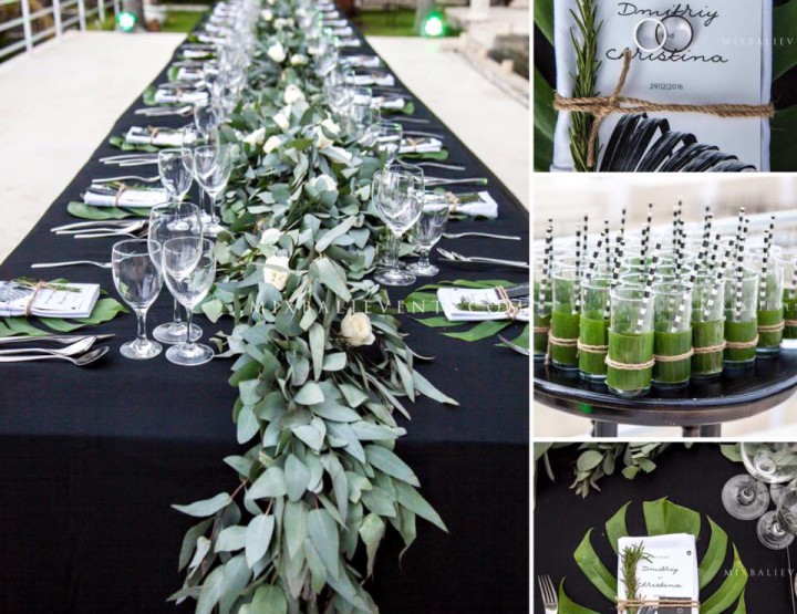 Trend 2017 - Black and White Tropical Wedding with guests in a luxury villa by the ocean