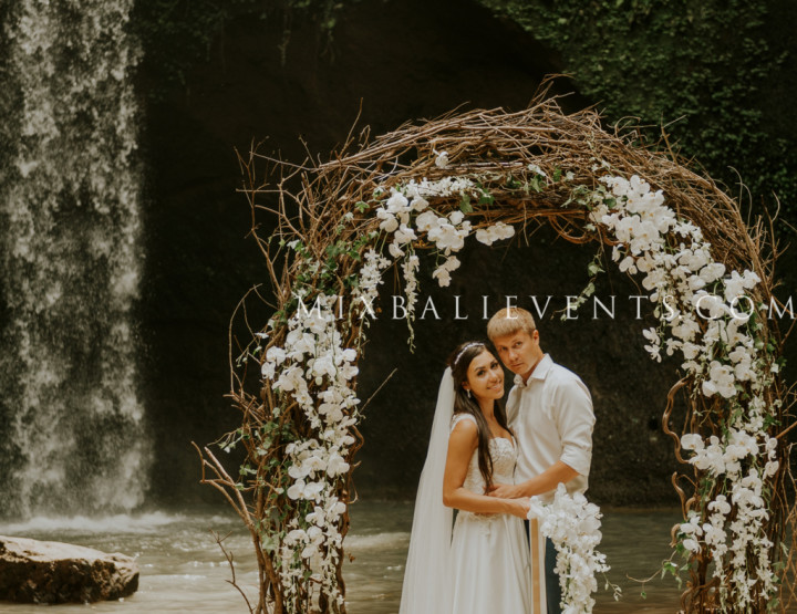 Orchid Wedding on the Waterfall in the Tropical Jungle of Bali