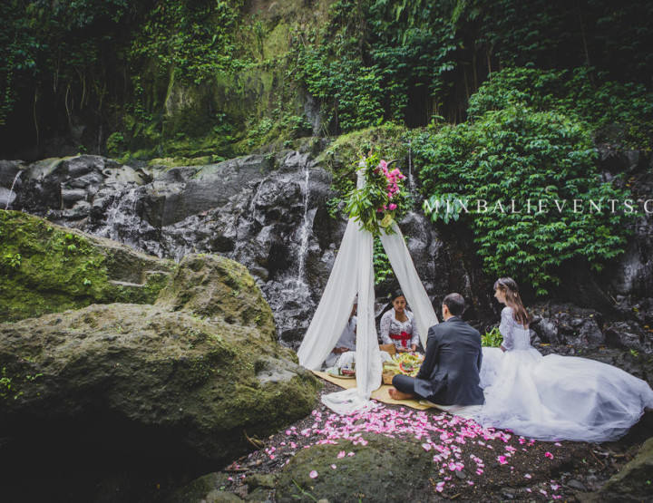 Traditional Balinese Wedding on the Waterfall