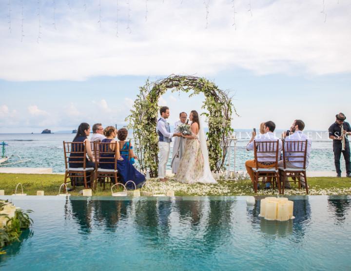 Stylish Grey Wedding at the villa. Wedding with guests