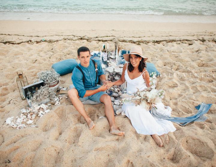 Stylish Indigo & Dusty Blue Boho Wedding on a white-sand beach