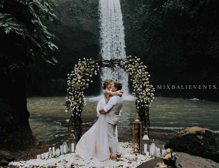 Wedding on the Waterfall in the Tropical Jungle of Bali