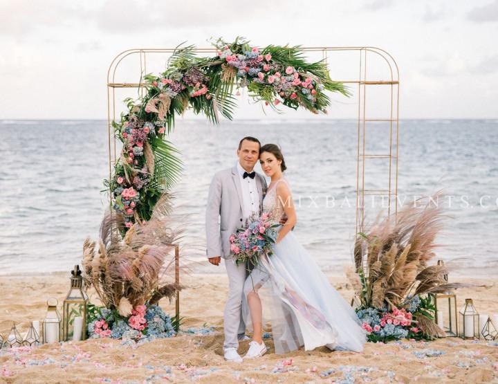 Stylish Purple-Blue Tropical & Pampas Grass Wedding on the white sand beach