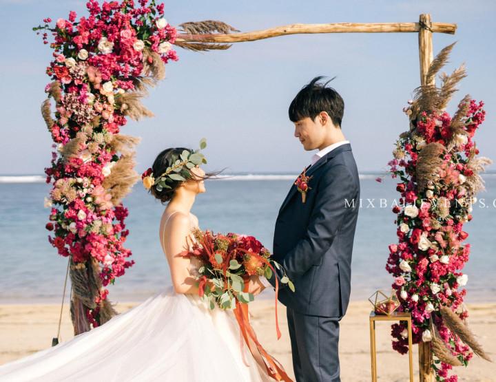 Stylish Marsala Boho Wedding on the white sand beach