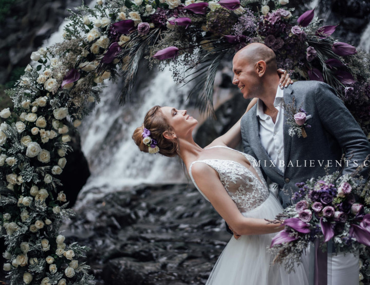 Stylish Wedding on the Cascading Waterfall in the Tropical Jungle of Bali