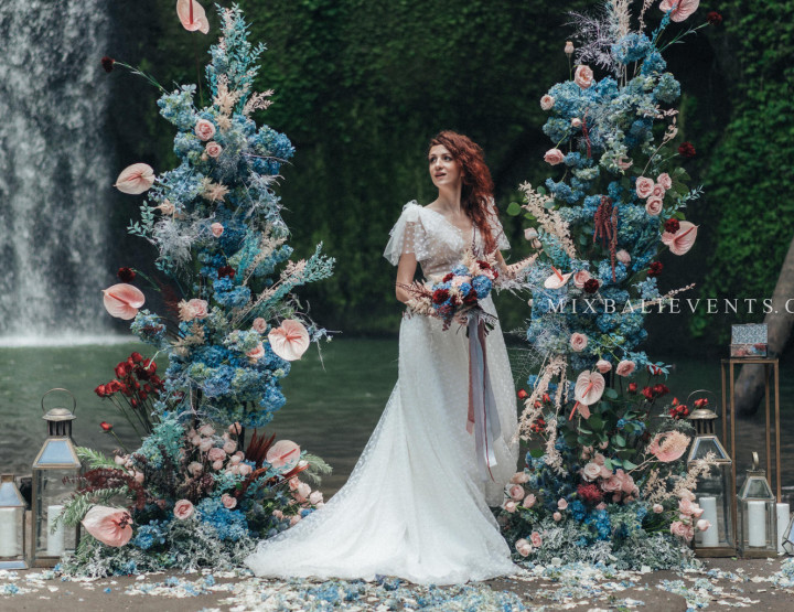 Stylish Blue, Soft-pink & Marsala Wedding on the Waterfall in the Tropical Jungle of Bali